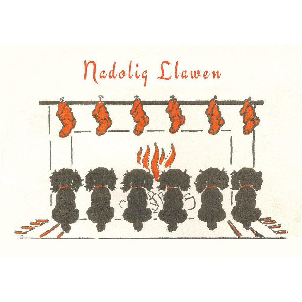 Card - Nadolig Llawen - Chrismas Puppies-Card-The Welsh Gift Shop