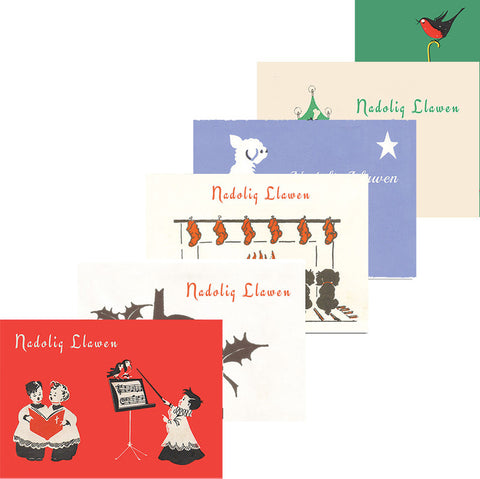 Cards - Vintage Christmas - Nadolig Llawen - Set of 6-Card-The Welsh Gift Shop