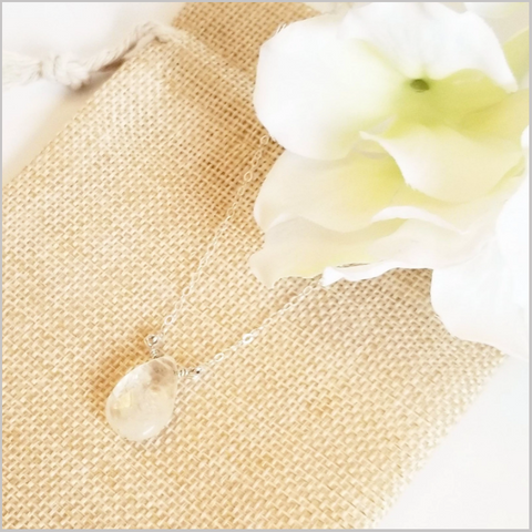 Natural Tear Drop Clear Quartz Necklace