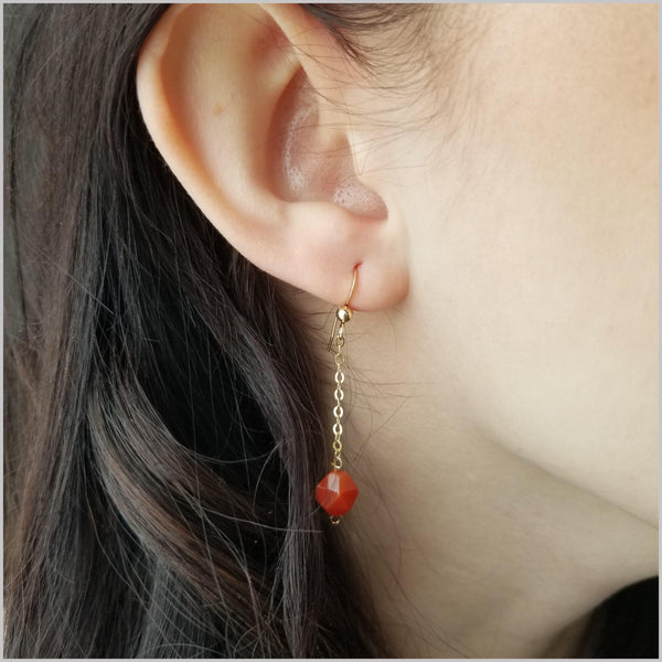 Faceted Carnelian Drop Earring
