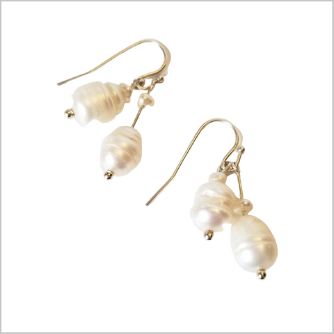 Dual Gemstone Freshwater Pearls Dangle