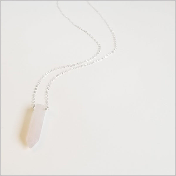 Natural Rose Quartz Healing Point Necklace