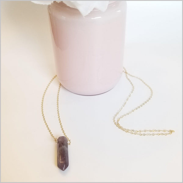 Natural Amethyst Healing Point Necklace