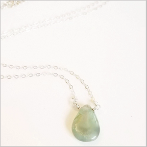 Natural Tear Drop Chrysoprase Necklace