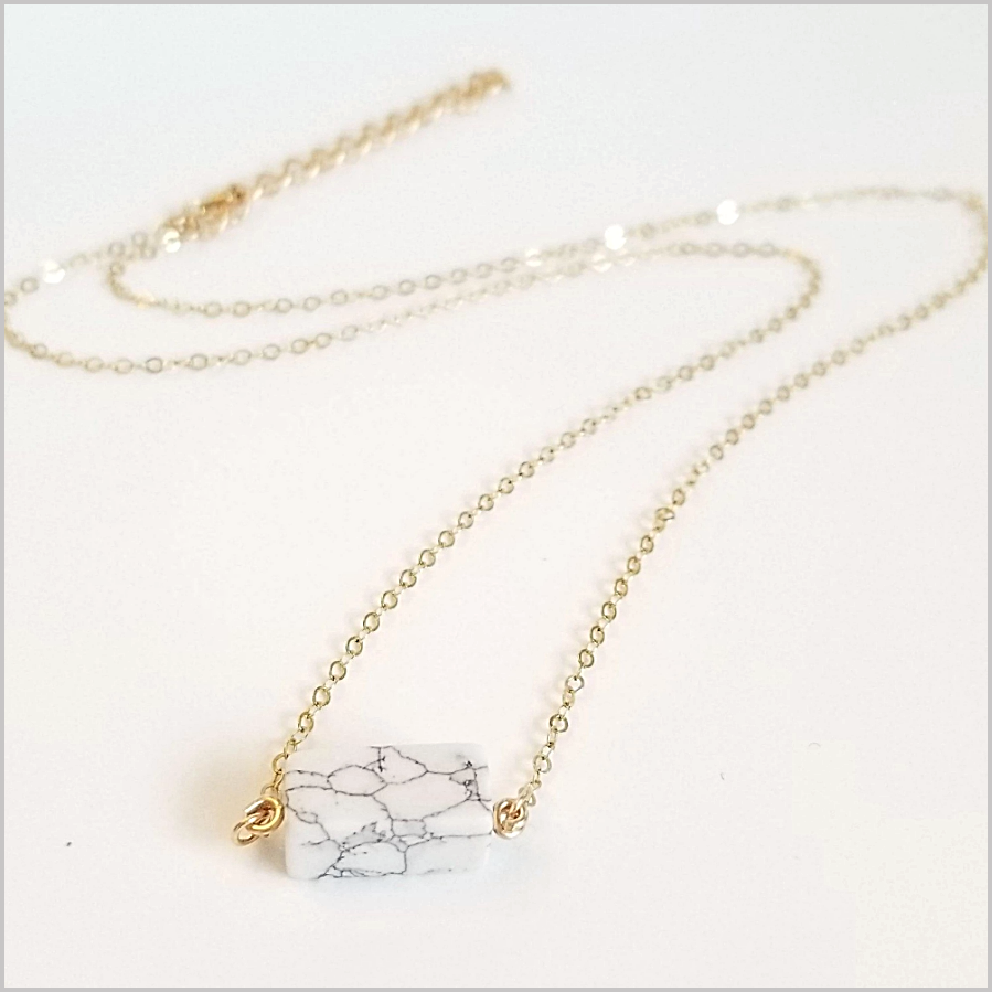 Natural Howlite Geometric Necklace