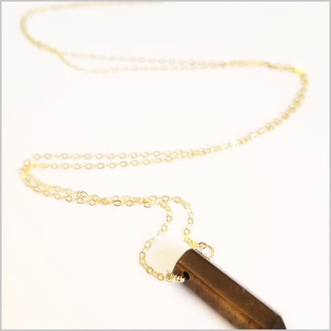 Natural Tigers Eye Healing Point Necklace