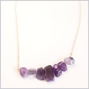Natural Amethyst Crystals Statement Necklace