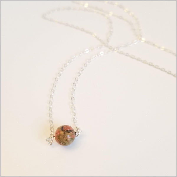 Natural Unakite Bead Necklace