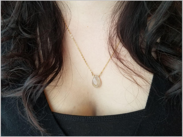 Natural Tear Drop Rutilated Quartz Necklace