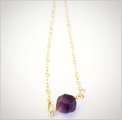 Natural Faceted Amethyst Necklace