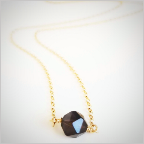 Natural Faceted Smoky Quartz Necklace