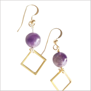 Square Amethyst Dangle