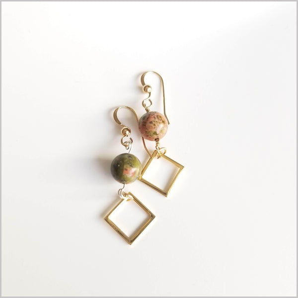Square Unakite Dangle