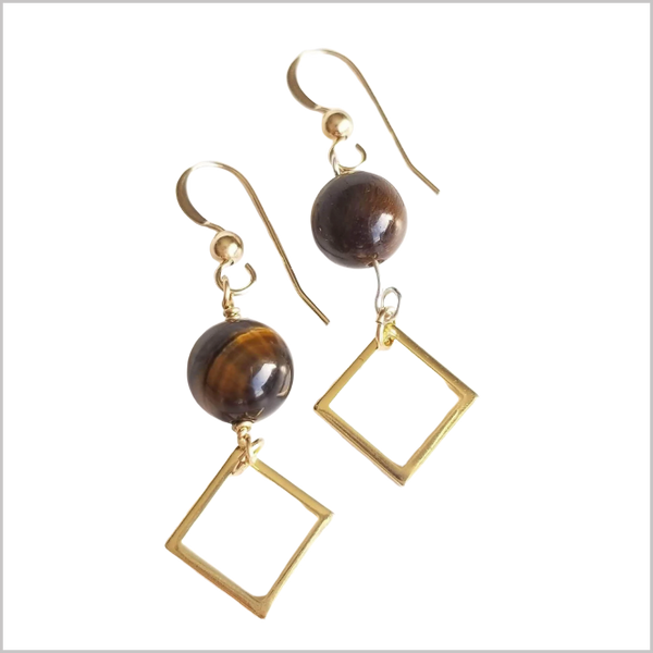 Square Tigers Eye Dangle