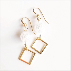 Square Crackle Quartz Dangle
