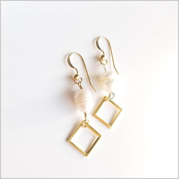 Square Freshwater Pearl Dangle