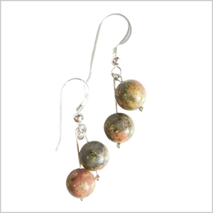 Dual Gemstone Unakite Dangle