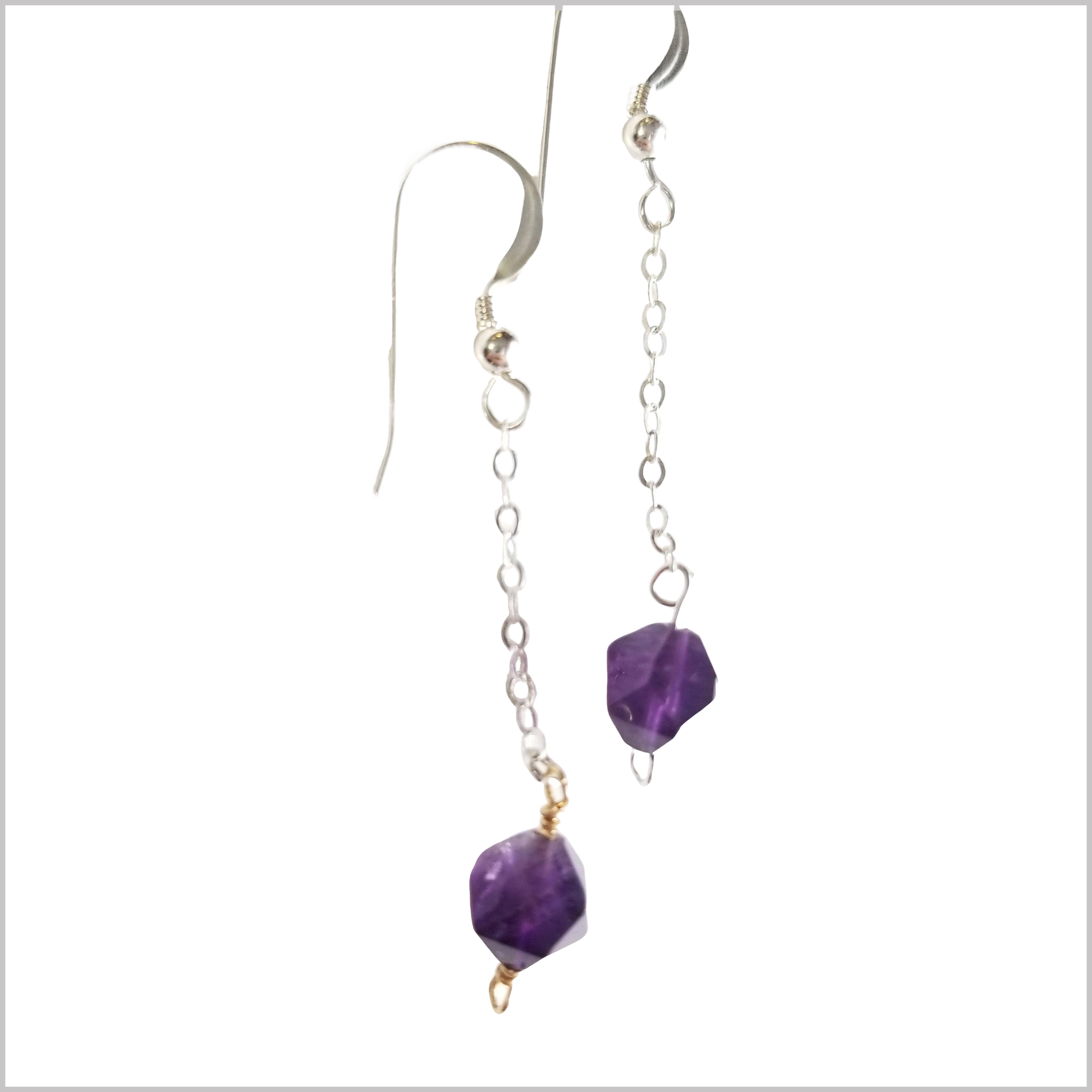 Faceted Amethyst Drop Earring