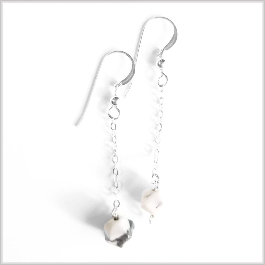Faceted Howlite Drop Earring