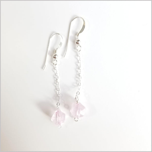 Faceted Rose Quartz Drop Earring