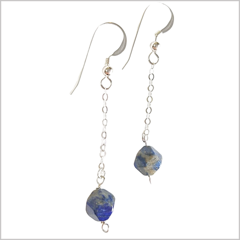 Faceted Lapis Lazuli Drop Earring