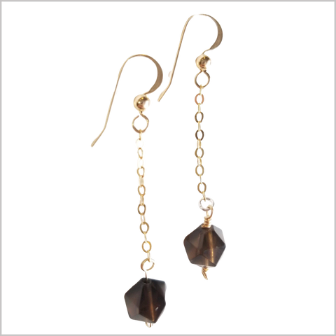 Faceted Smoky Quartz Drop Earring