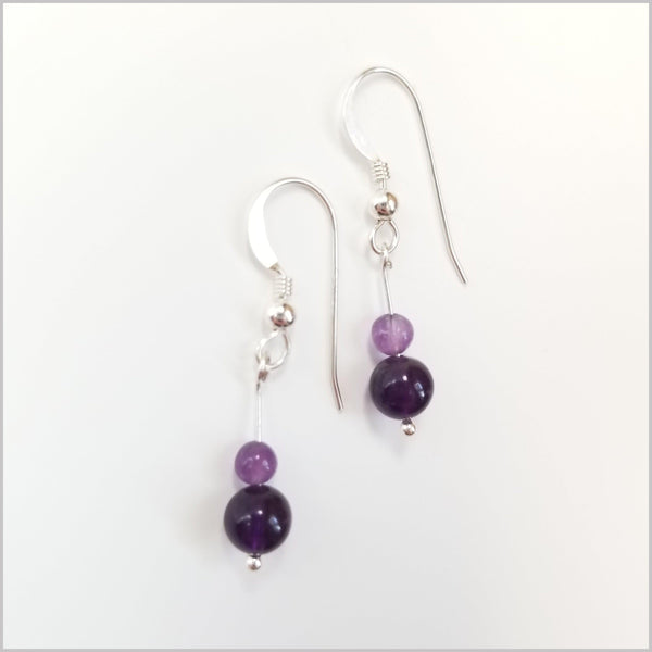 Natural Amethyst Dangle Earrings