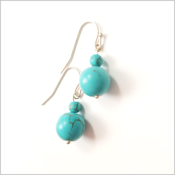 Natural Blue Howlite Earrings