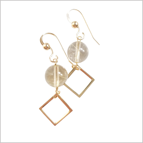 Square Rutilated Quartz Dangle