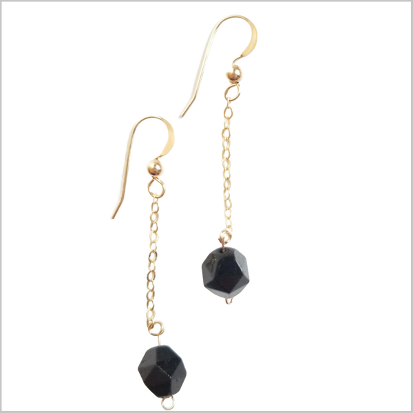 Faceted Black Tourmaline Drop Earring