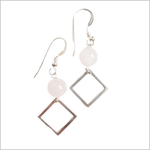 Square Rose Quartz Dangle