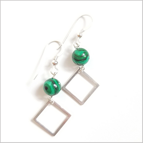 Square Malachite Dangle