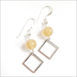 Square Citrine Dangle