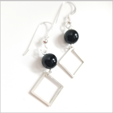 Square Obsidian Dangle