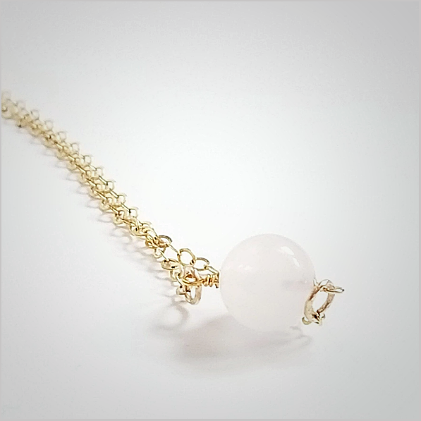 Natural Rose Quartz Bead Necklace
