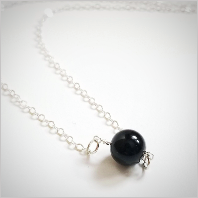 Natural Black Obsidian Bead Necklace