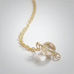 Natural Rutilated Quartz Bead Necklace