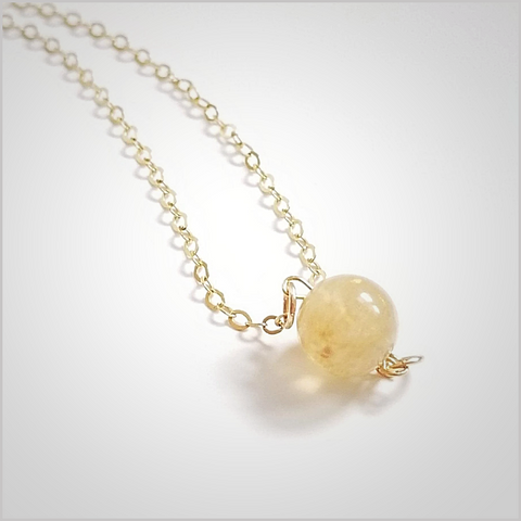Natural Citrine Bead Necklace