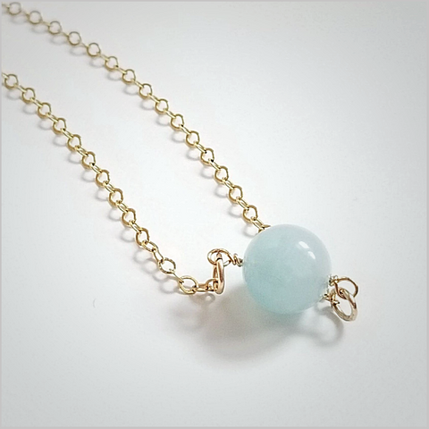 Natural Aquamarine Bead Necklace