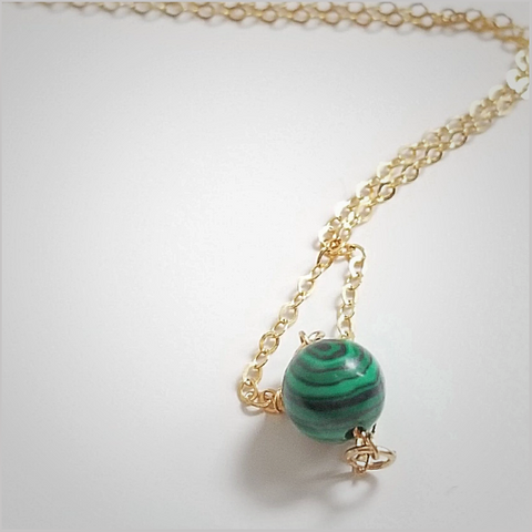 Natural Malachite Bead Necklace