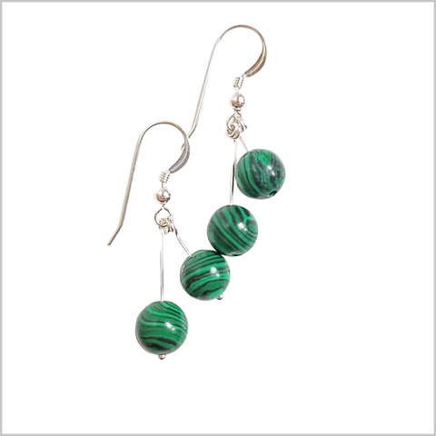 Dual Gemstone Malachite Dangle