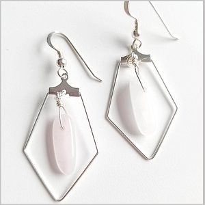 Sacred Pentagon Rose Quartz Earring