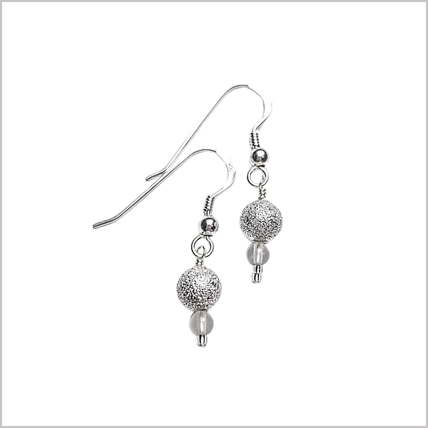 Silver Stardust Bead Earrings