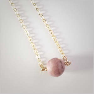 Natural (Matte) Rhodonite Bead Necklace
