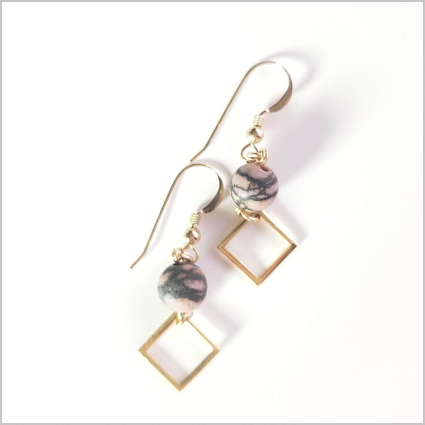 Square (Matte) Rhodonite Dangle