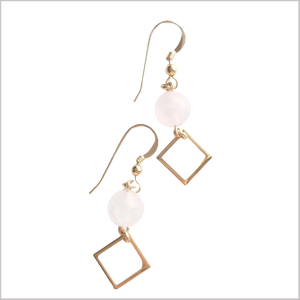 Square (Matte) Rose Quartz Dangle