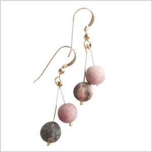 Dual Gemstone (Matte) Rhodonite Dangle