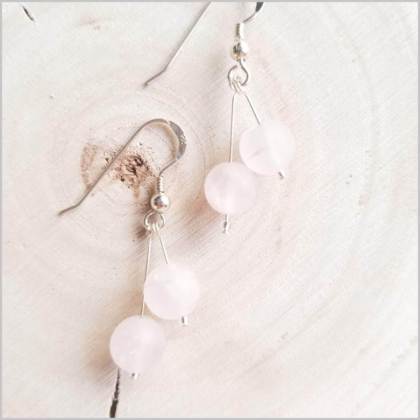 Dual Gemstone (Matte) Rose Quartz Dangle