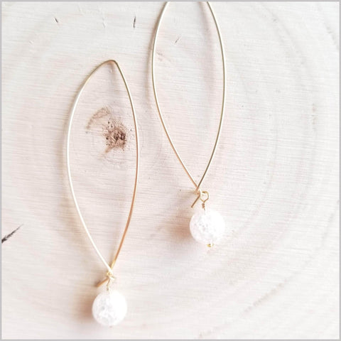 Natural Quartz Round Hoop Earrings