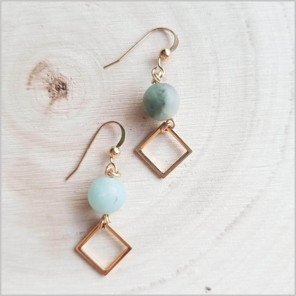 Square (Matte) Amazonite Dangle